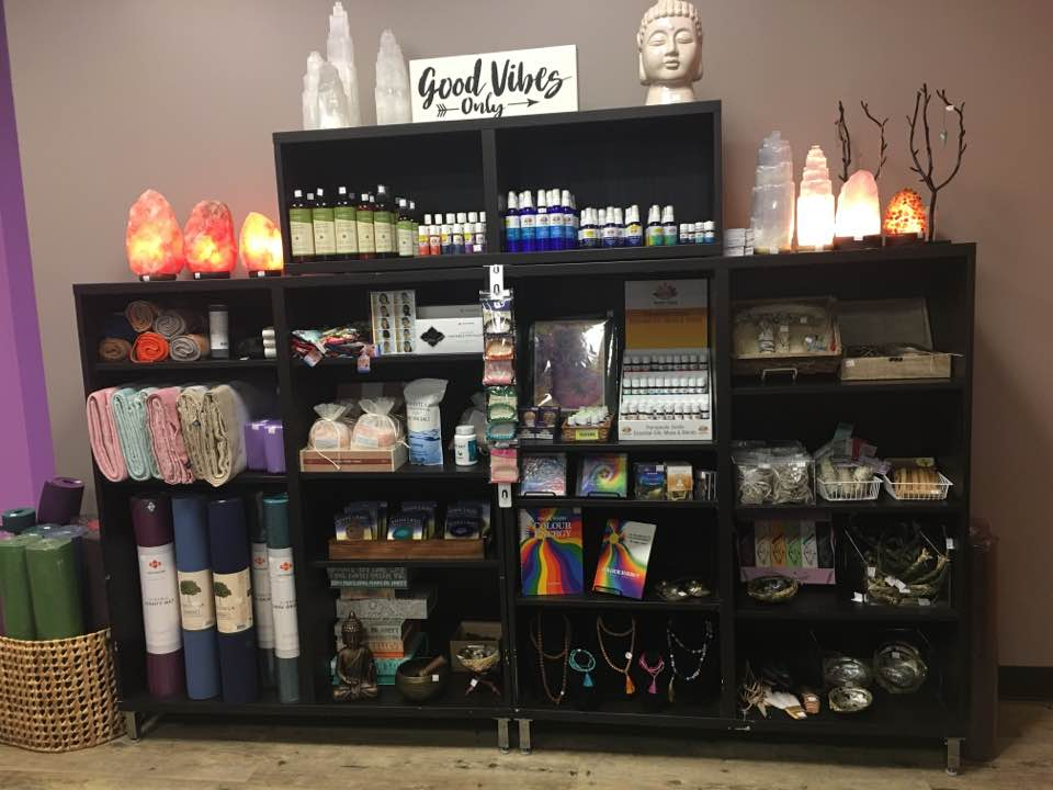 The Metaphysical Retail Store at Buddha Belly Yoga and Wellness. Located across from Capilano Mall in Edmonton Alberta